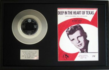 "DUANE EDDY - 7"" Platinum Disc & Song Sheet  - DEEP IN THE HEART OF TEXAS"